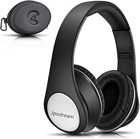 Bluetooth Headphones, Jpodream Wireless Over Ear Headphones with Built in Microphone, Foldable Hi Fi Stereo Headset, Wireless and Wired Mode for