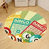 Gzhihine Custom round floor mat Vintage Decor Bingo Game with Ball and Cards Pop Art Stylized Lottery Hobby Celebration Theme Bedroom Living Room Dorm Multi