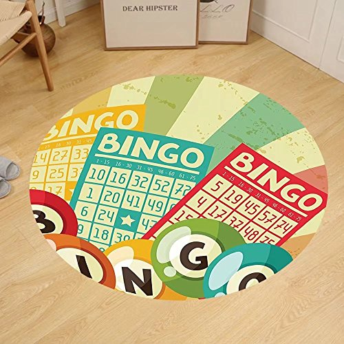 Gzhihine Custom round floor mat Vintage Decor Bingo Game with Ball and Cards Pop Art Stylized Lottery Hobby Celebration Theme Bedroom Living Room Dorm Multi by Gzhihine