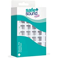 Safe & Sound Weekly Pill Organiser with 28 Compartments, 4 Compartments Per Day Each with Single Slide-out Lid