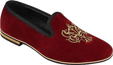 TALLA 40 EU. El Oro Bordado Floral Cresta De Imitación De Cuero del Ante Logo Slip Xposed Los Hombres En El Vestido De Los Zapatos De Los Holgazanes