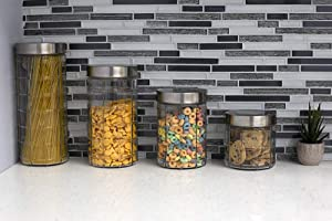 Home Basics, Clear Chex 4 Piece Glass Canister Set with Air-tight Stainless Steel Lids, Kitchen Storage Organization Wide Mouth Jar, For Past, Food, Tea, 22 oz, 37 oz, 52 oz, 66 oz