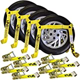 Vulcan Classic Yellow Flat Bed Side Rail Auto Tie Down w/ Flat Hooks (Pack of 4) Safe Working Load - 3300 lbs.