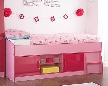 Neuf Ottawa Caspian Bicolore Pour Enfant Fille Rose Lit Cabane - Lit cabane rose