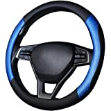 coofig Microfiber Leather Steering Wheel Cover Breathable Auto Car Steering Wheel Cover for Men Universal 15 Inches(Blue-Blac