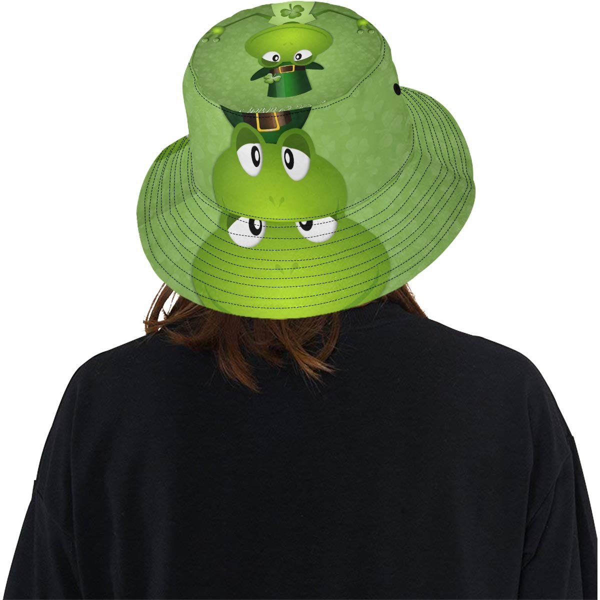 Green Little Pond Happy Frog New Summer Unisex Cotton Fashion Fishing Sun Bucket Hats for Kid Teens Women and Men with Customize Top Packable Fisherman Cap for Outdoor Travel