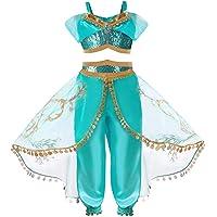 Ants House Arabian Princess Aladdin Dress up Costume Girls Sequined Jasmine Cosplay Kids Halloween