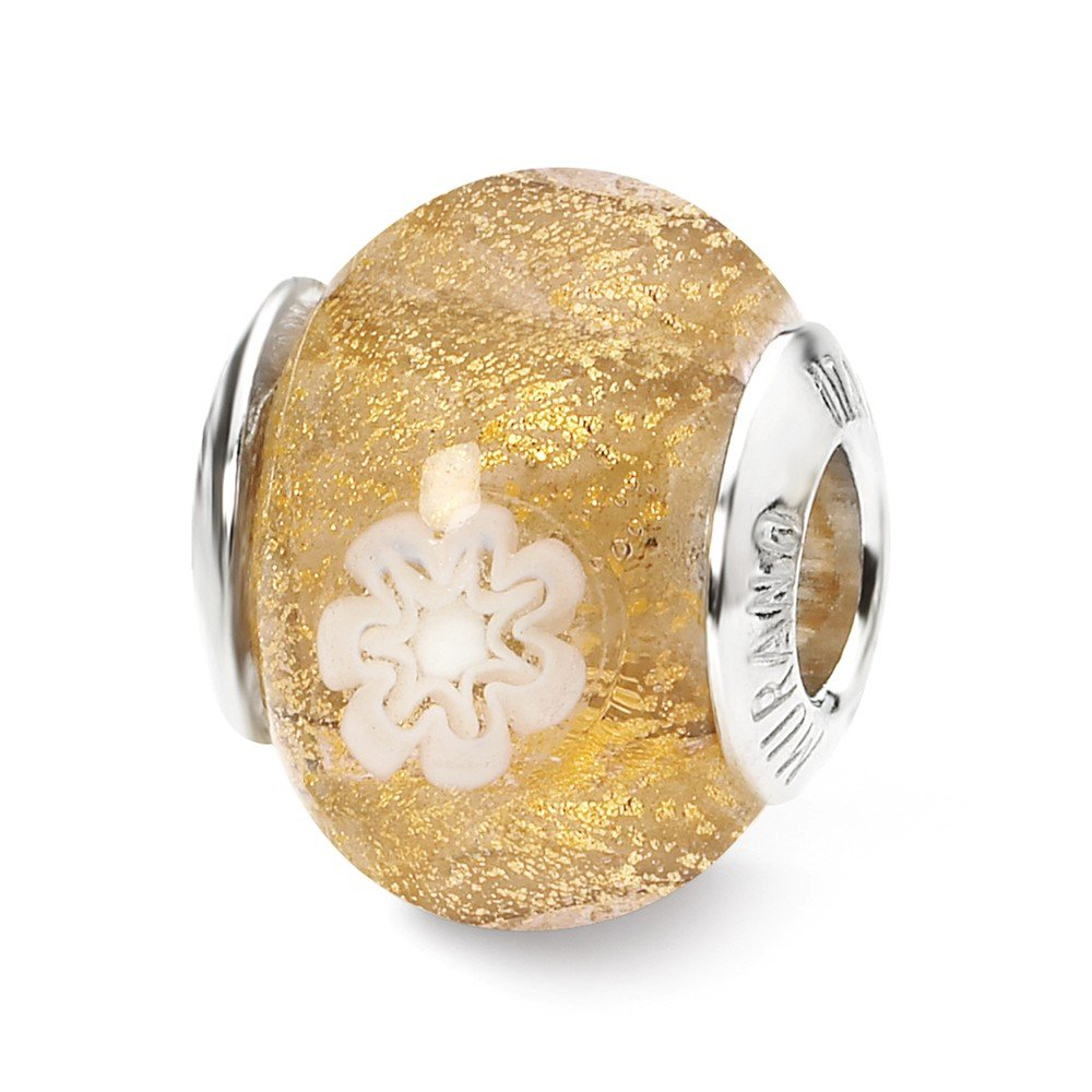 Jewelry Beads Glass Beads Sterling Silver Reflections Gold//White Flower Italian Murano Bead