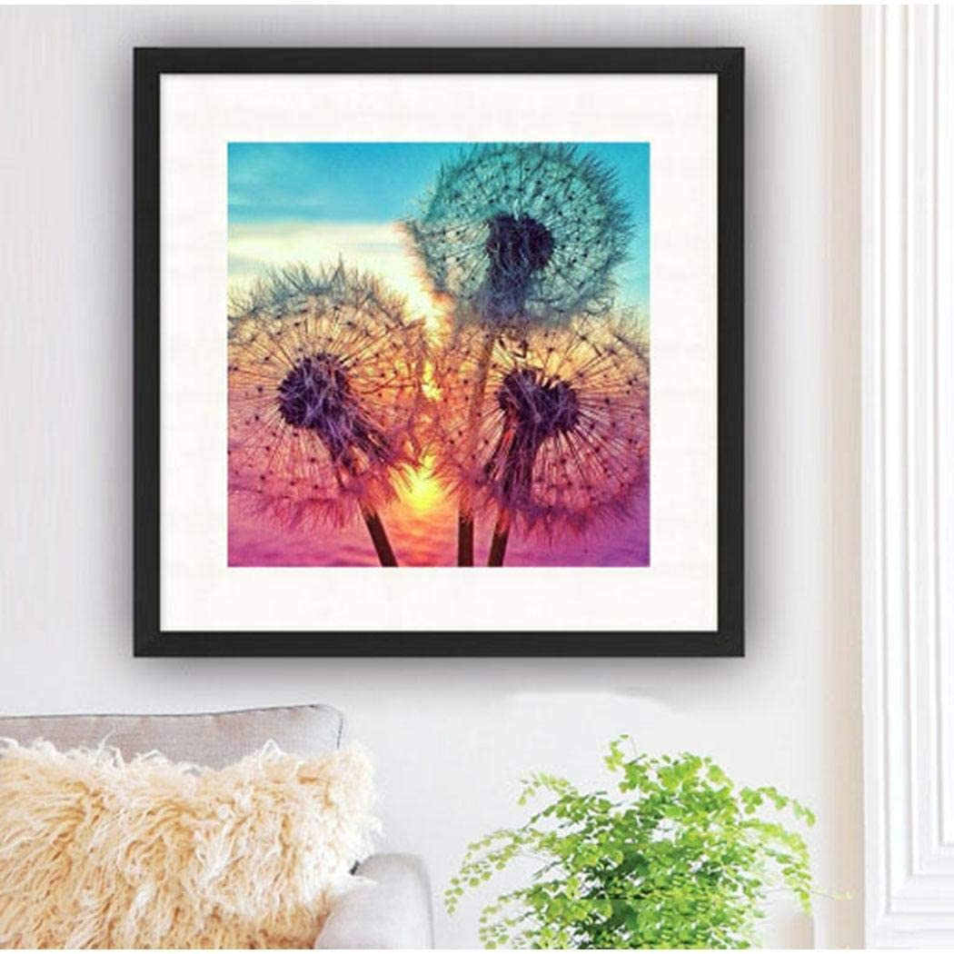 Gfones DIY Diamond Painting Kit Full-Rhinestone Dandelion Cross Stitch Arts Home Decor Cross-Stitch 11.8 x 11.8 inch