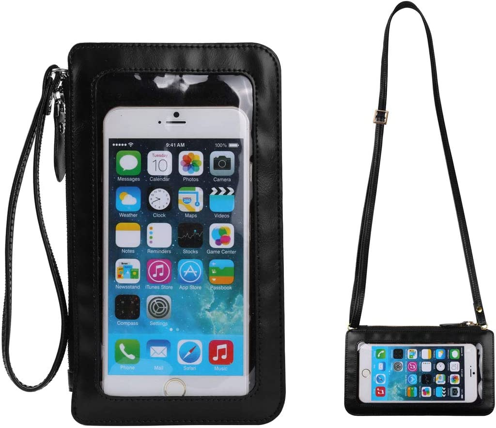Cell Phone Crossbody Bag with Touch Screen Clear Window Pocket Travel Shoulder Purse Wristlet Clutch Wallet Case Holder Pouch for iPhone 11 Pro Max Moto G Power Stylus OnePlus 7T 6T 7 Pro (Black)
