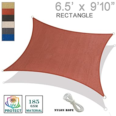 SUNNY GUARD 6.5' x 9'10  Terra Rectangle Sun Shade Sail UV Block for Outdoor Patio Garden