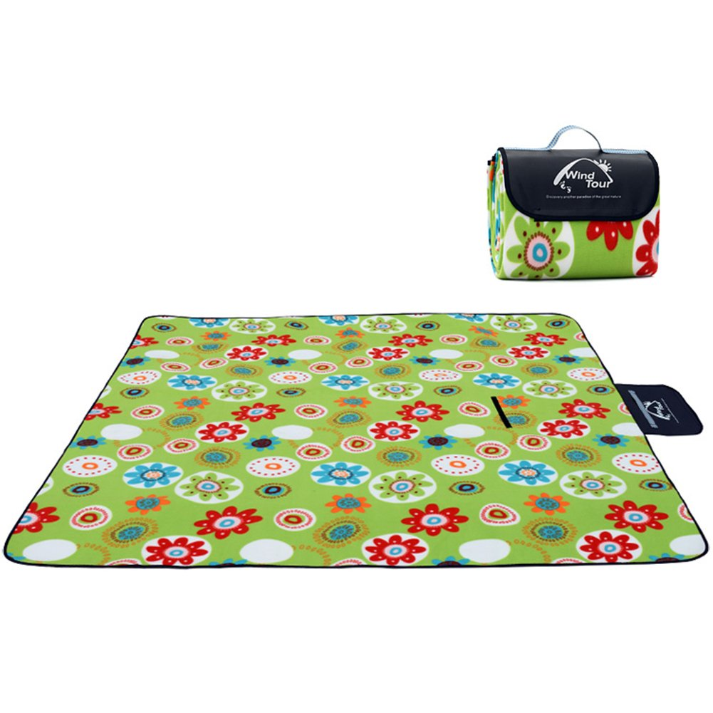 HM&DX Outdoor Waterproof Picnic blanket,Velvet Thick Moisture-proof Camping mat Lightweight Foldable Picnic floor mat Pad for beach lawn travel-C 200x150cm(79x59inch) by HM&DX