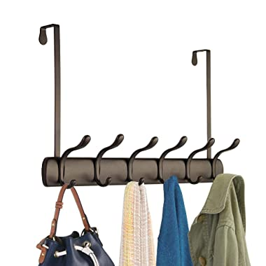 mDesign Decorative Over Door Long Easy Reach 12 Hook Metal Storage Organizer Rack to Hang Jackets, Coats, Hoodies, Clothing, Hats, Scarves, Purses, Leashes, Bath Towels & Robes - Bronze