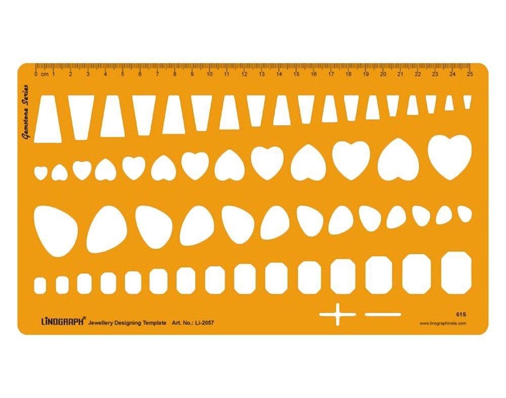 ダイヤモンド原石製図テンプレートジュエリーデザインテンプレートステンシルシンボルテクニカル図面スケール オレンジ Lino-2057 B01DLZDJDA Design-4