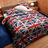 UNION JACK RED WHITE BLUE TWIN COTTON MIX COMFORTER COVER SET **OFFICIAL LICENSED**