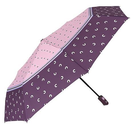 Paraguas Mujer Plegable y Ligero - Mini Paraguas Bicolor con Dientes de León - Antiviento con Tratamiento Teflon - Apertura y Cierre automático - ...