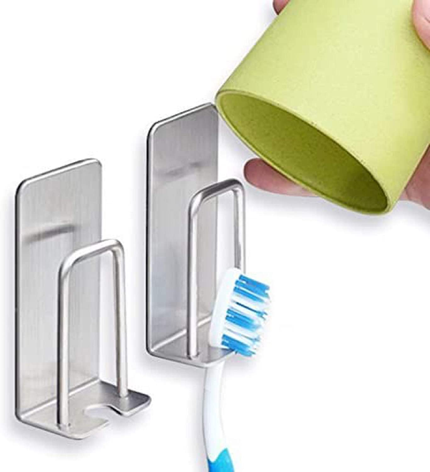 1pc Bathroom Wall Mounted Stainless Steel Toothbrush Hook Toothpaste Holder FYYY