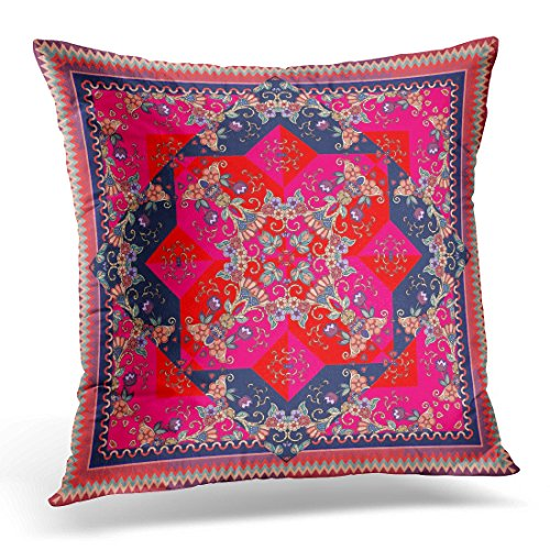 Ornamental Silk Square Scarf - Emvency Throw Pillow Covers Carpet Lovely Tablecloth in Oriental Style with Bright Indian Scarf with Unusual Floral Pattern Sarong Decorative Pillow Case Home Decor Square 20