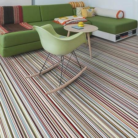 Candy Stripe Cushion Vinyl Flooring Sheet Lino Kitchen Bathroom Non