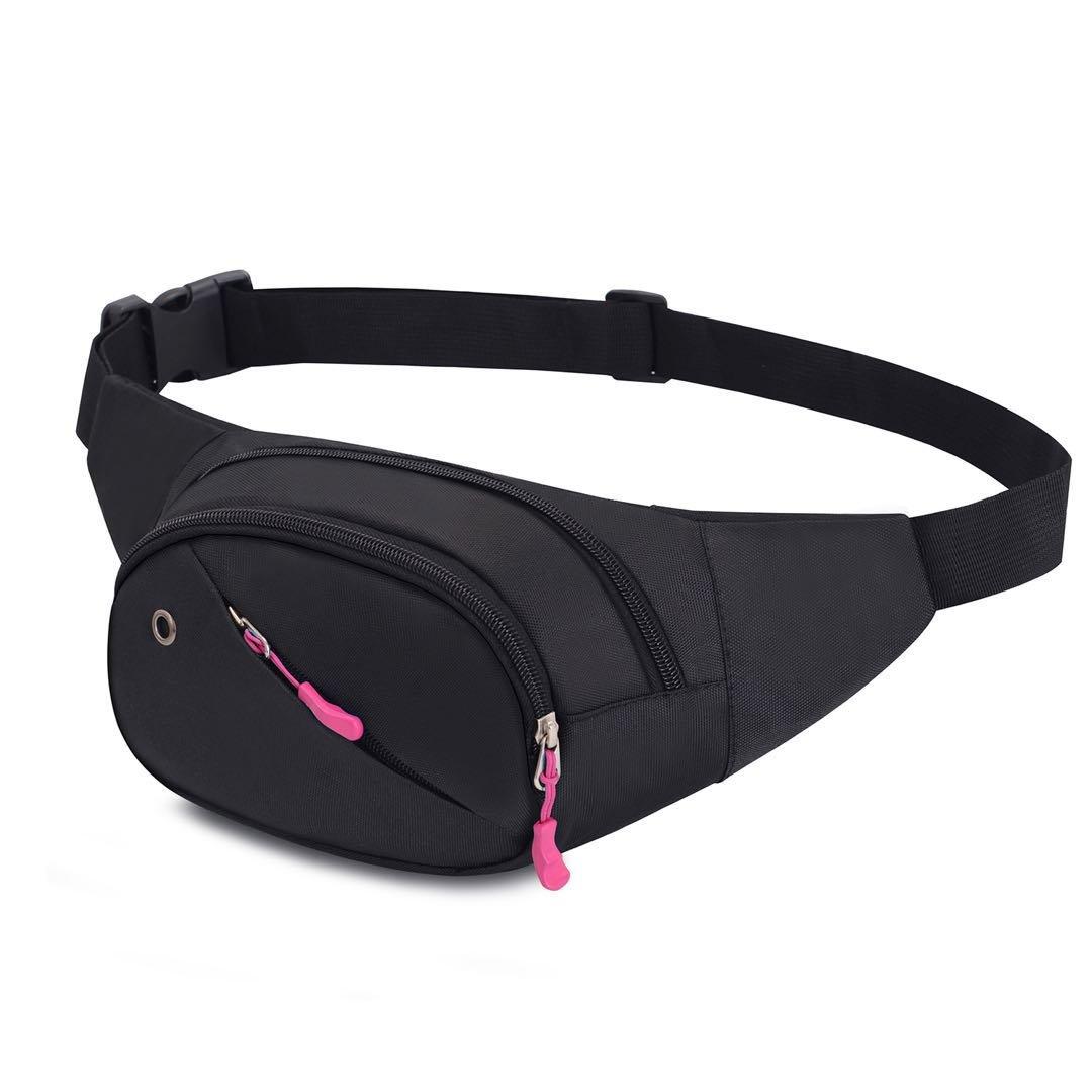 Riñonera lienzo 3-zipper Fanny Pack cintura bolsa con correa ajustable para correr Fitness ciclismo senderismo viajes Camping deportes (Blu) Ipay