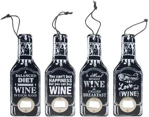 Set de 4 Abridores Decorativos Botellas Wine. Utensilios de Bar. Menaje de Cocina. Regalos Originales. Detalles de Boda. 20 x 7 x 1 cm.: Amazon.es: Hogar