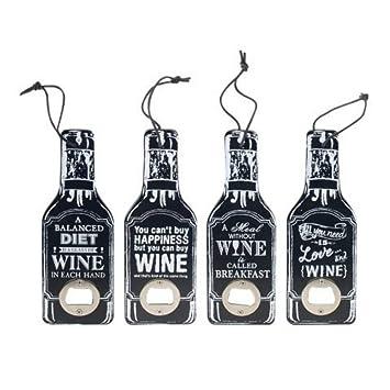 Set de 4 Abridores Decorativos Botellas Wine. Utensilios de Bar. Menaje de Cocina.