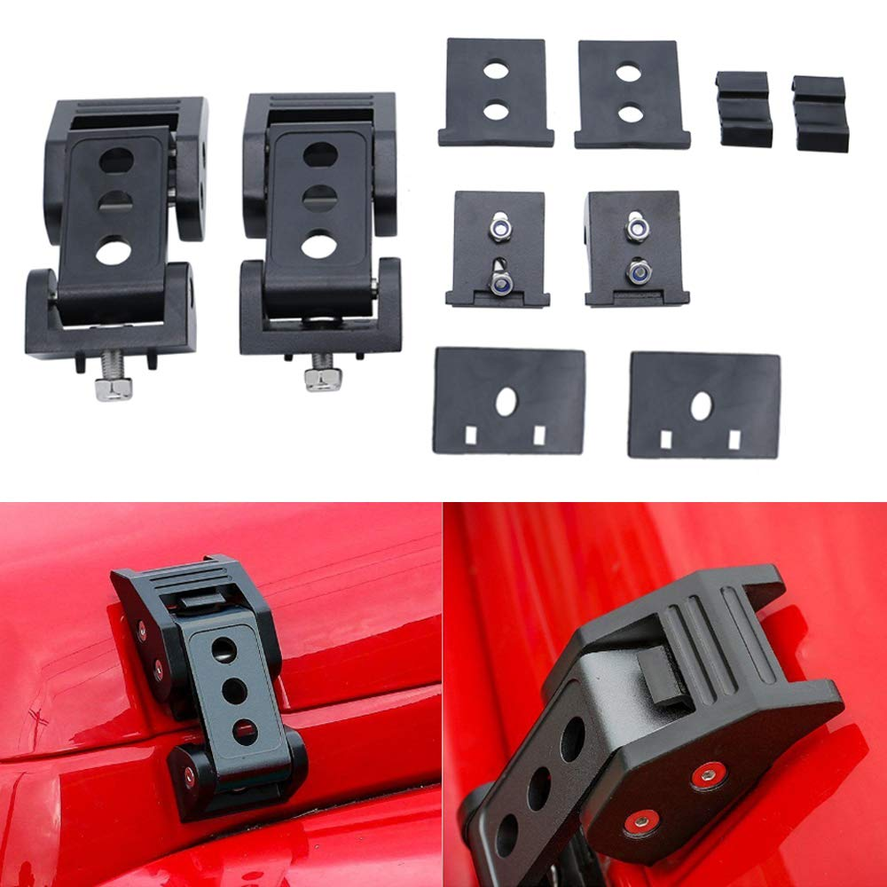 SOYAVISION Aluminum Hood Latches Hood Lock Catch for 2007-2018 Jeep Wrangler JK JKU Car Accessories