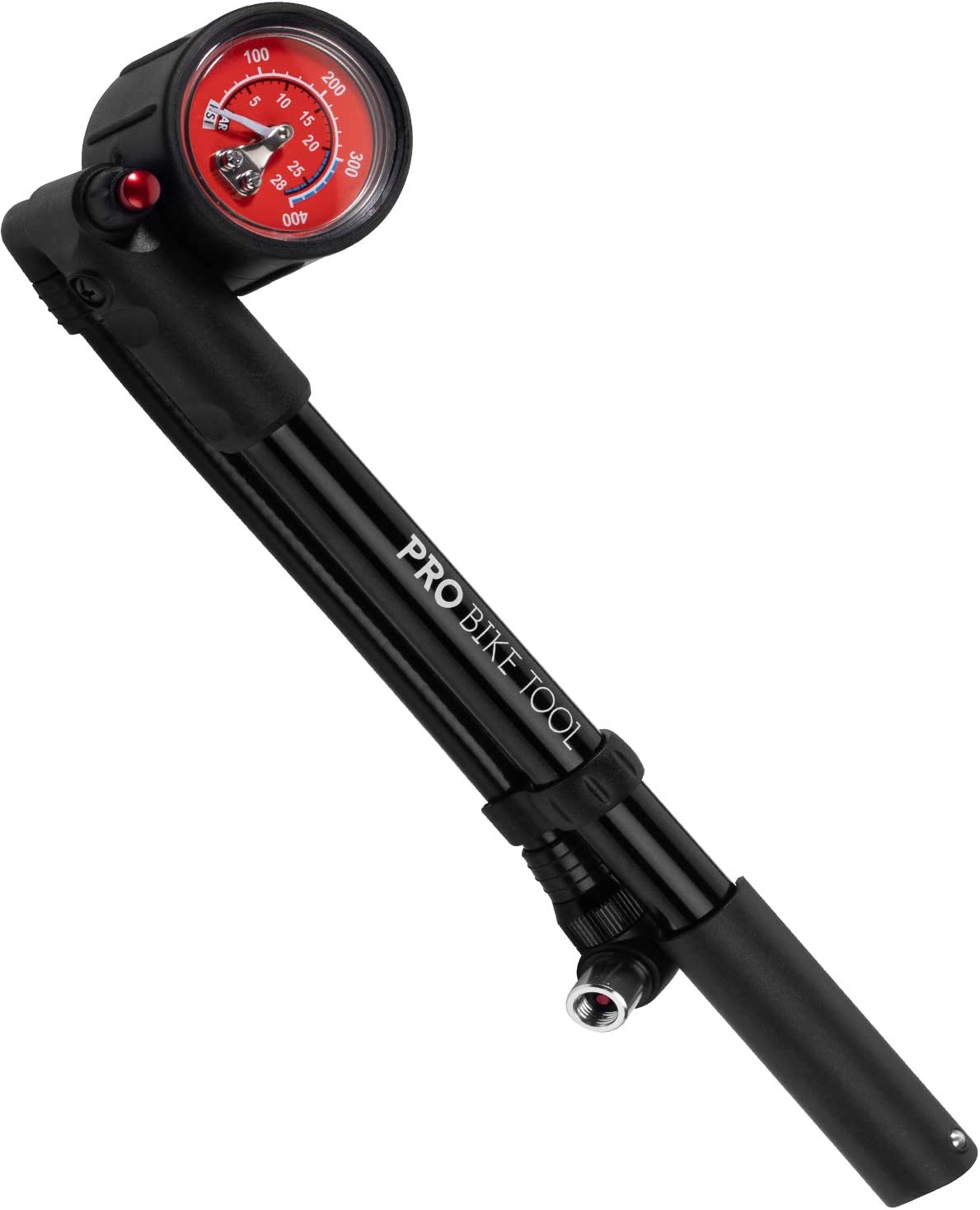 Bike Shock Pump for Mountain, MTB, Road Bikes and Motorcycle – High Pressure 300 Psi for Front Fork and Rear Bicycle Suspension and Air Shocks – Anti-Leak Valve – T-Handle Design – Industrial Gauge