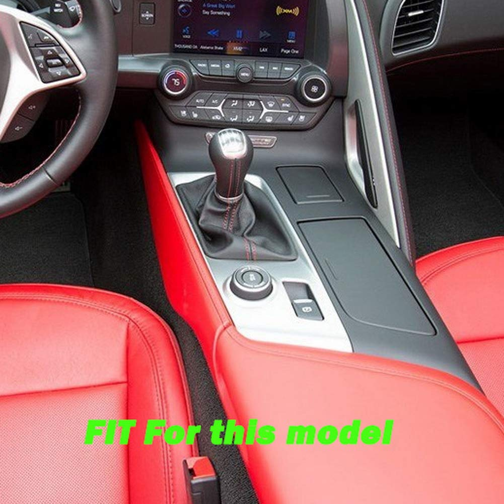 Justautotrim Carbon Fiber Look Control Gears Panel Protective Cover molding Trims Accessories for 2014 2015 2016 2017 2018 Chevrolet Corvette C7 Manual Gear