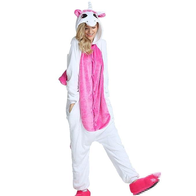 Misslight pijama o disfraz de unicornio unisex para niño o adulto Pink with Wing X