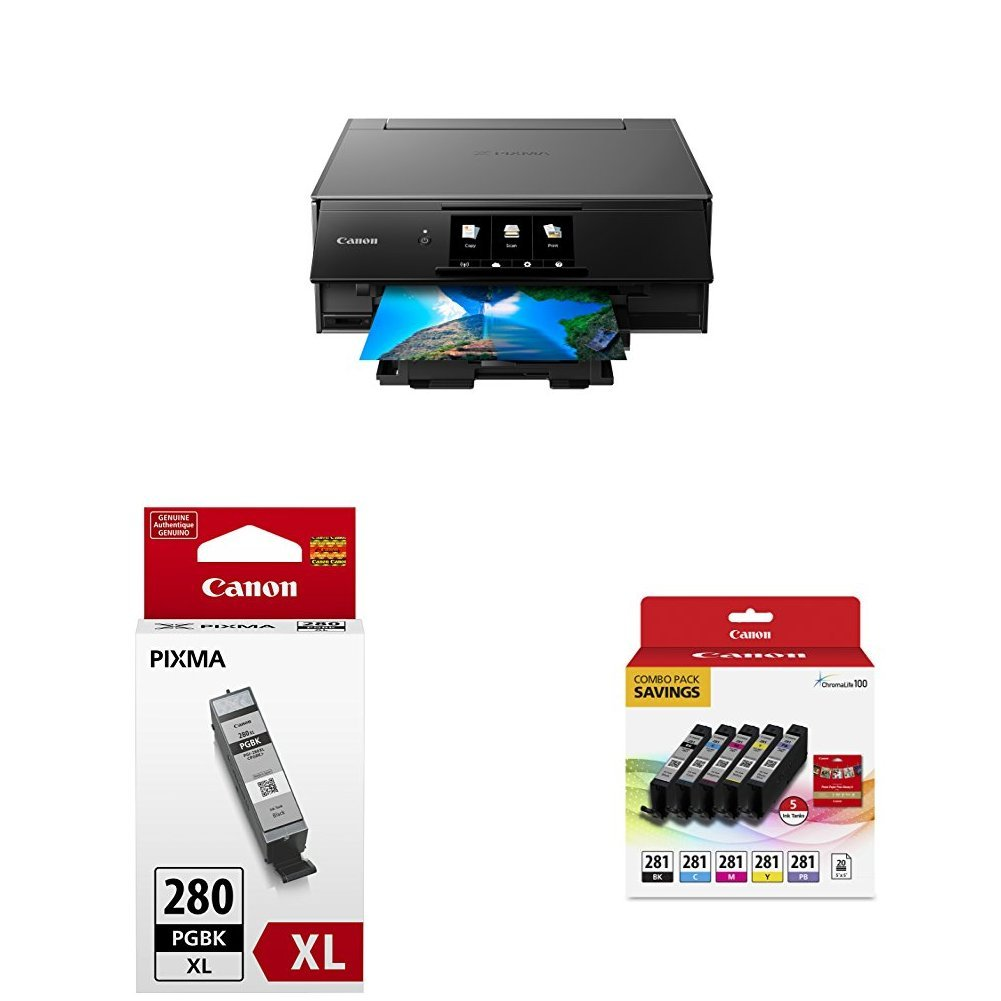 Canon TS9120 Wireless AlO Printer, Gray with PGI-280XL and CLI-281 Combo Pack