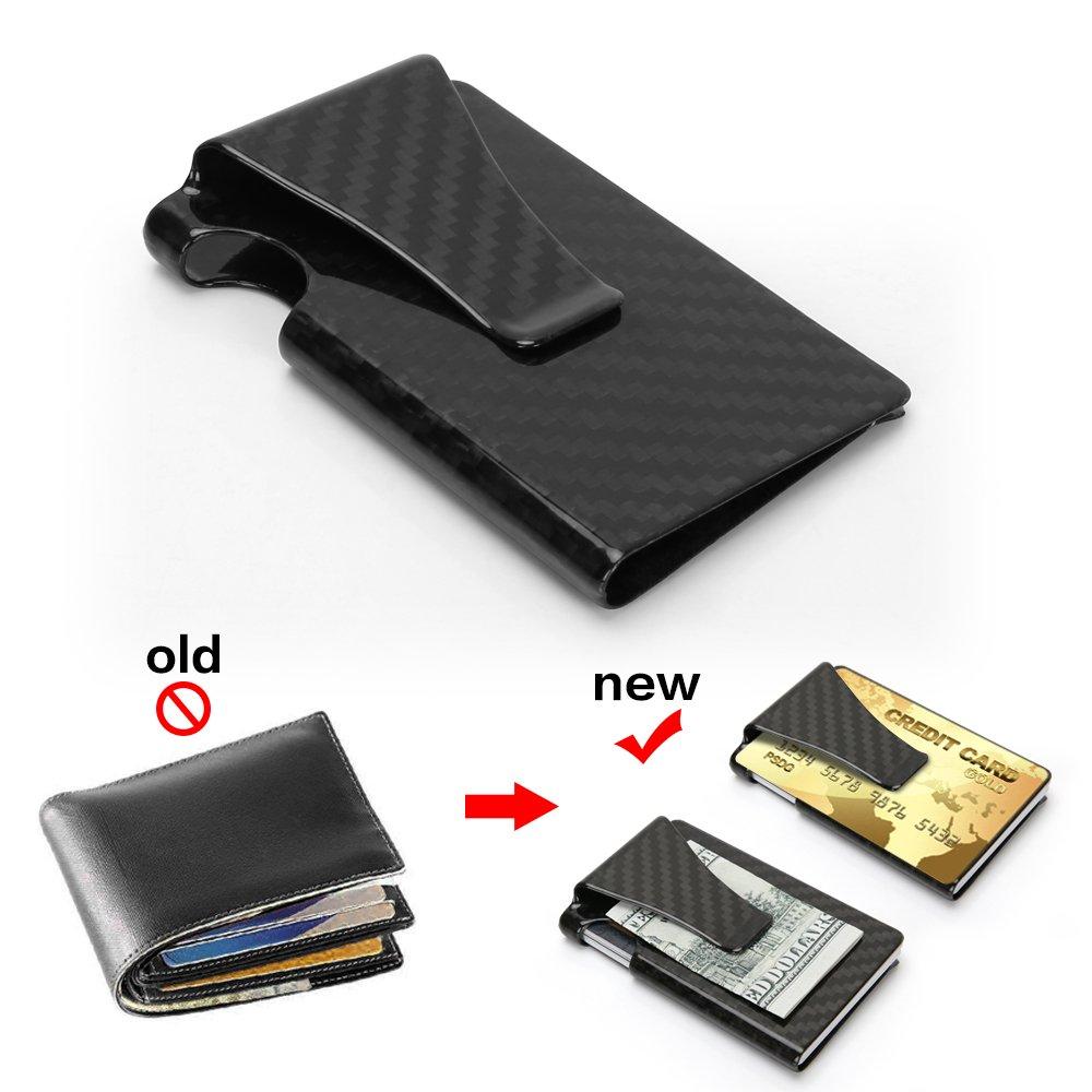 Premium Kreditkartenetui Carbon Slim Kreditkartenhalter RFID Schutz f/ür 9 Kreditkarten Mini Geldb/örse Portemonnaie Leicht D/ünn Kartenh/üllen Nur 14g mit Geschenkbox f/ür Herren