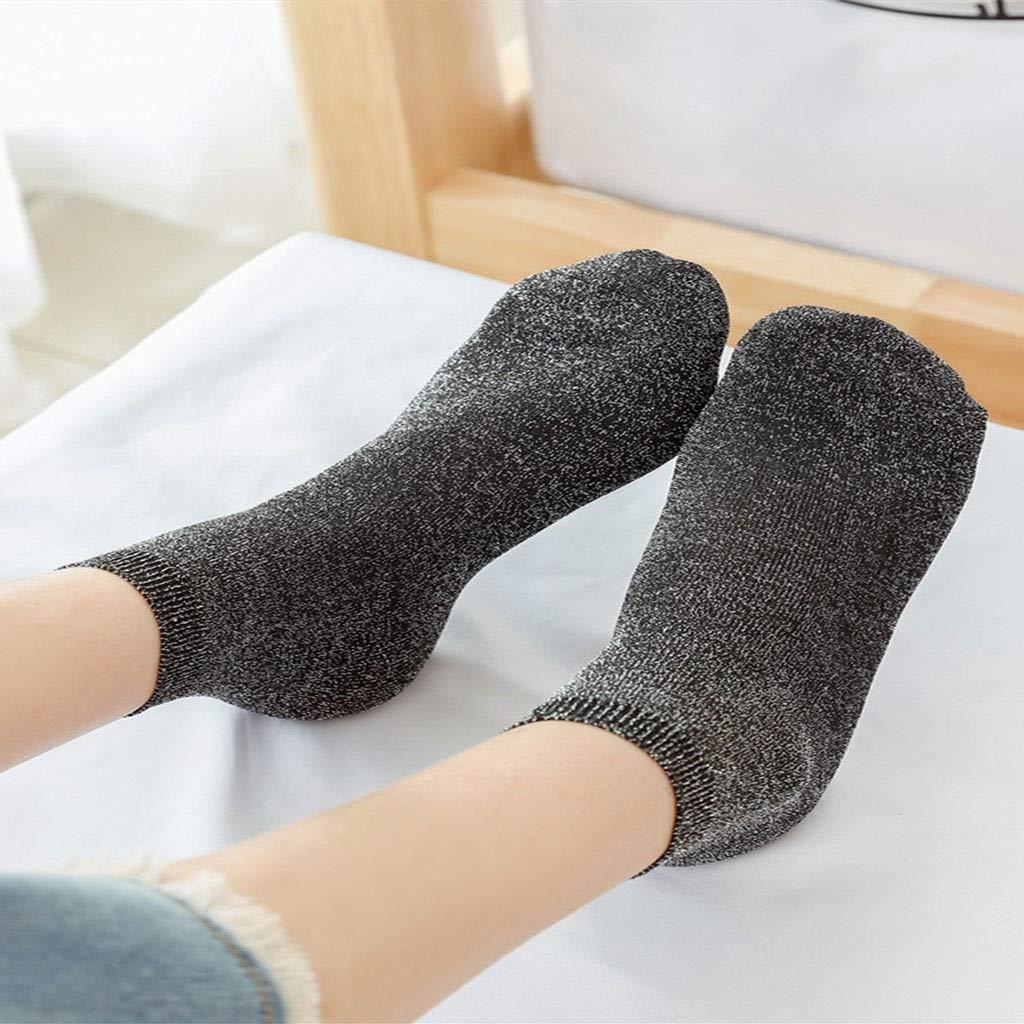 HNIWDJ 3 Pairs Ladies Spring Autumn Thin Bright Silk Socks Solid Color Ankle Length Socks Retro Shiny Short Stockings