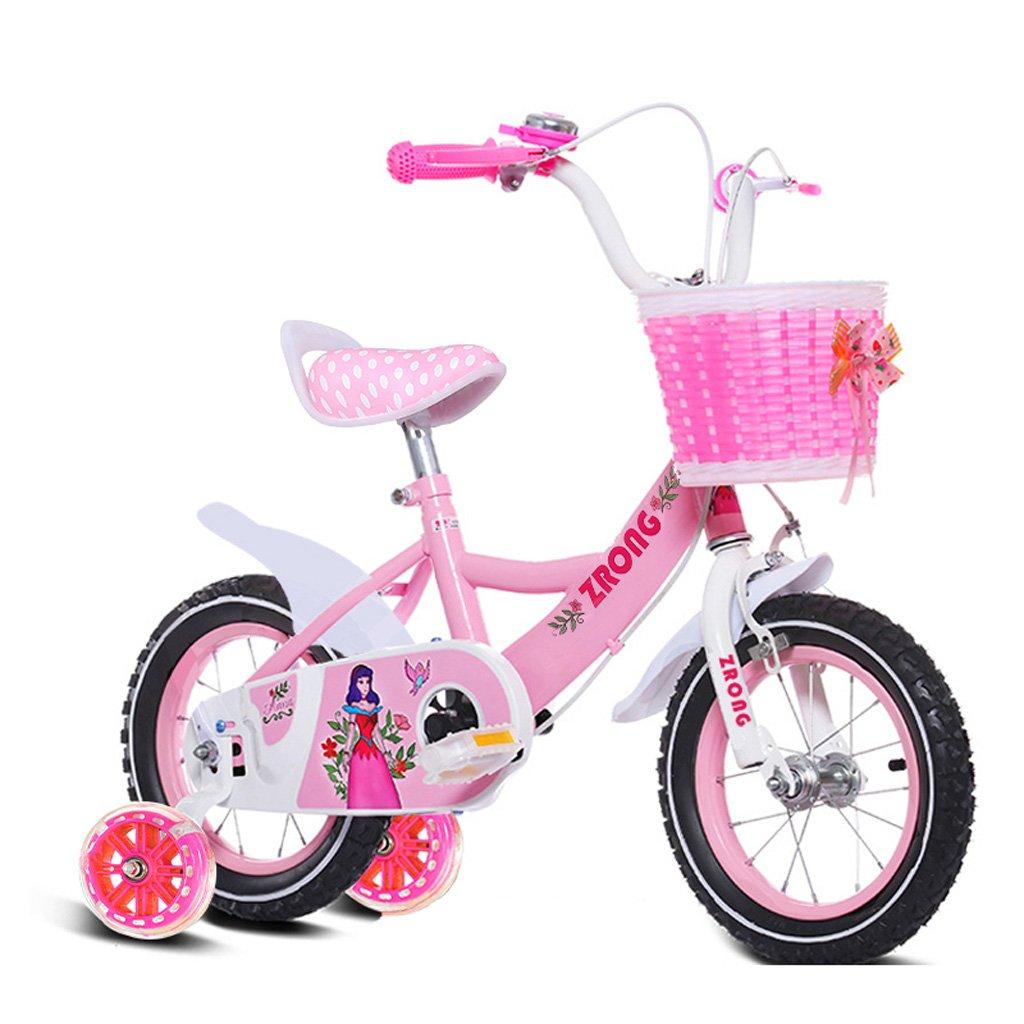 子供用自転車18インチガールズ自転車6-9歳の赤ちゃんキャリッジハイカーボンスチール自転車、ピンク/パープル/ブルー (Color : Pink) B07CXL3WRD