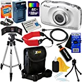 Nikon COOLPIX W100 Waterproof & Shockproof 13.2MP Digital Camera with Wi-Fi & Full HD Video (White) - International Version + Battery & Charger + 11pc 32GB Dlx Accessory Kit w/HeroFiber Cleaning Cloth