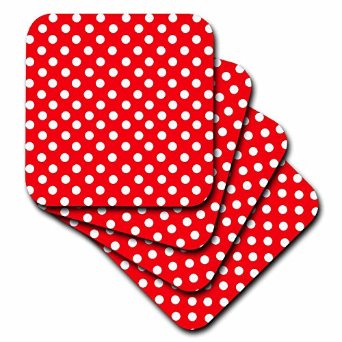 3dRose cst_56687_2 White Polka Dots on Red-Classic Retro 50S Style Cute Spots Pattern-Soft Coasters, Set of 8 61A2Tjith5L
