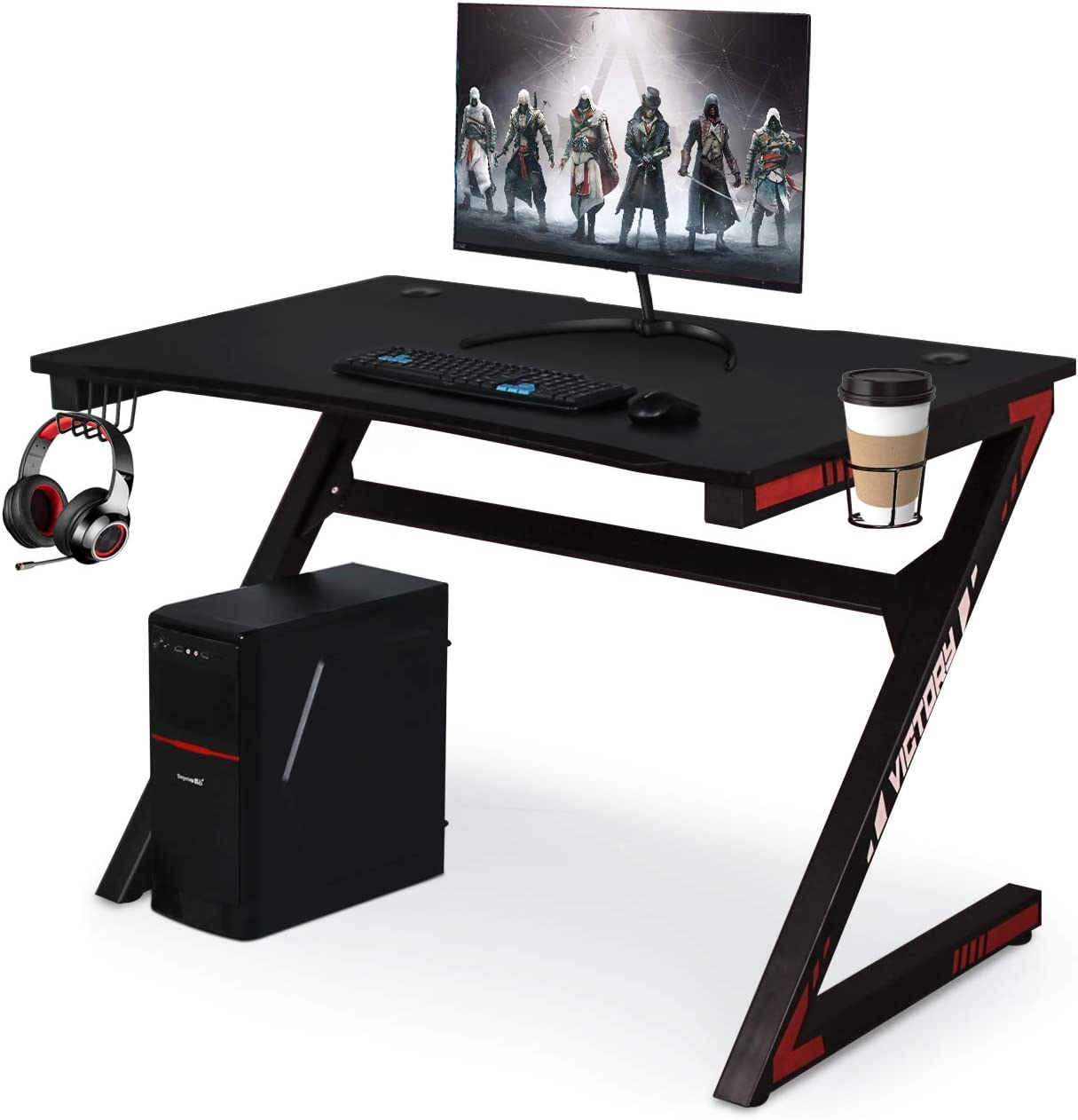 Computer Desk Gaming Table Z Shaped Gamer Workstaton with Large Ergonomic Surface and Heavy Duty Construction for Home or Office, Gaming PC Desk
