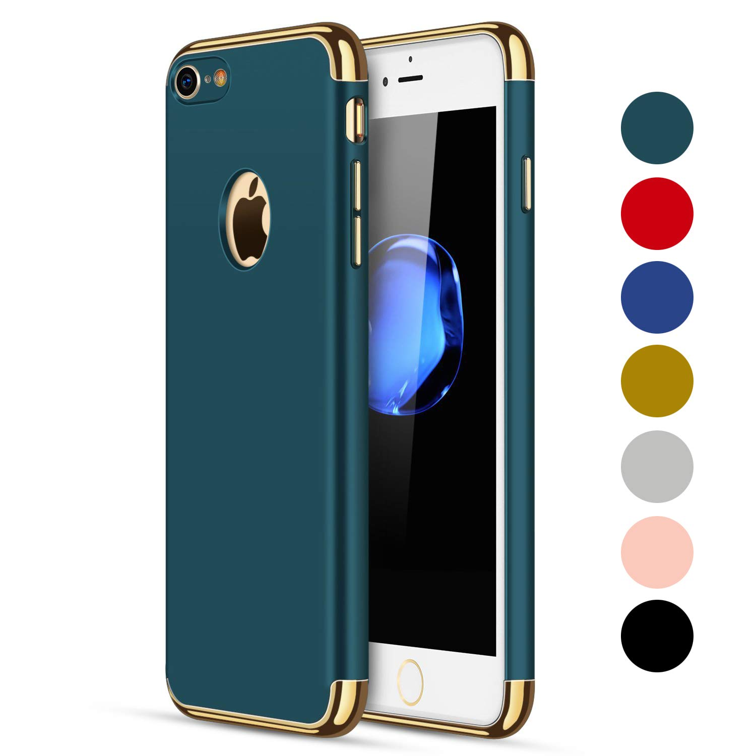 CROSYMX iPhone 7/8 Case, 3 in 1 Ultra Thin and Slim Hard Case Coated Non Slip Matte Surface with Electroplate Frame for Apple iPhone 7/8 (4.7'') - Dark Green