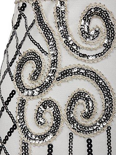 Vijiv 1920s Vintage Inspired Sequin Embellished Fringe Long Gatsby Flapper Dress,Silver White,Small Photo #6