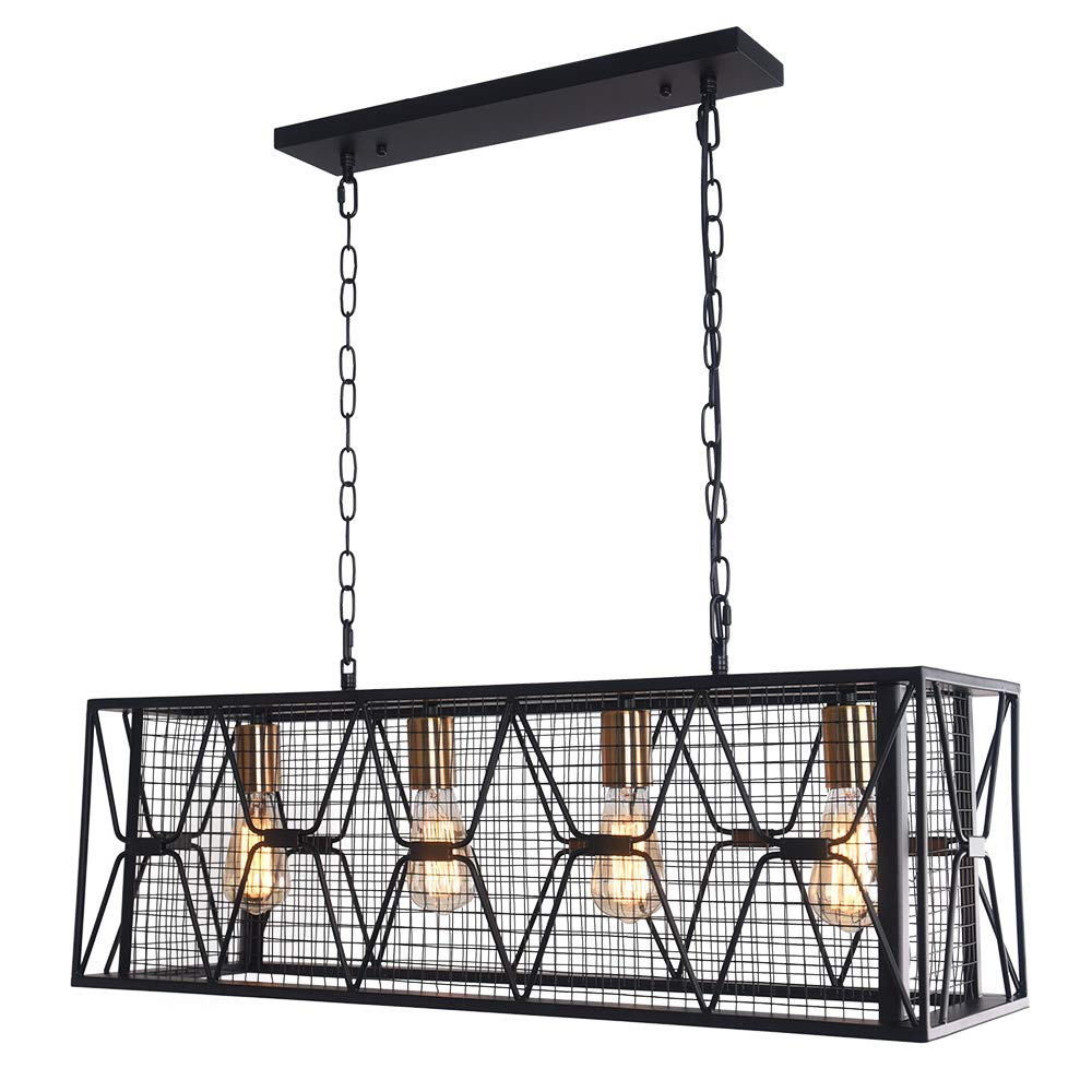 OYIPRO Farmhouse Hanging Fixture Retro Ceiling Light, 4 Lights Industrial Kitchen Island Light Chandelier Rectangular Rectangle Vintage Metal Caged Guard Pendant Lighting