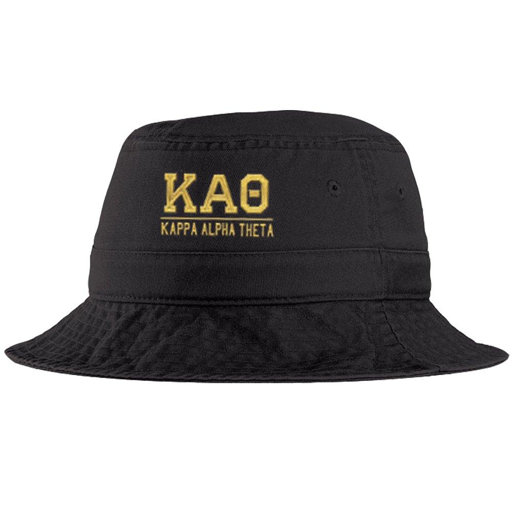 Women's Kappa Alpha Theta Greek Letter Bucket Hat Black by Greekgear