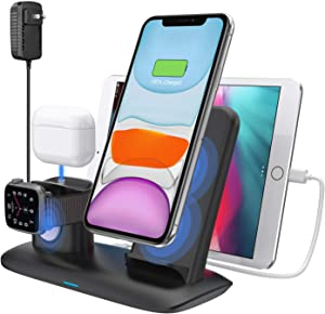 Wireless Charger,4 in 1 Wireless Charging Station for iPad Airpods 1/2/Pro,Qi Fast Wireless Charger Dock Stand for iPhone 11/11 pro /11 Pro Max/Xs/XS Max/XR/X / 8 /8P,Apple Watch Series 5/4/3/2/1