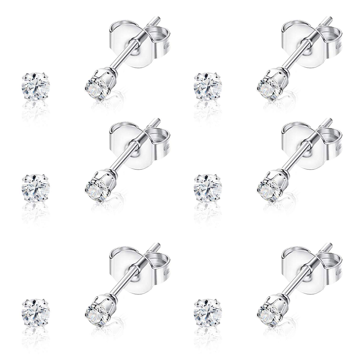 UHIBROS Hypoallergenic Stainless Steel Stud Earrings Set 2mm Tiny Cubic Zirconia Ear Studs for Women Man 18K White Gold Plated 6 Pairs