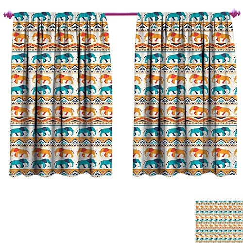 Elephant Blackout Window Curtain Horizontal Borders with Exotic Animals Ethnic Geometric Orient Design Customized Curtains W55 x L45 Turquoise Orange Cream