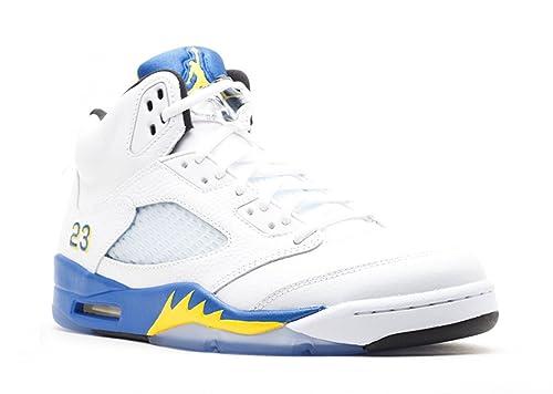 pretty nice 52be0 874fe where to buy air jordan retro 5 blue and yellow 689ef 8eb50