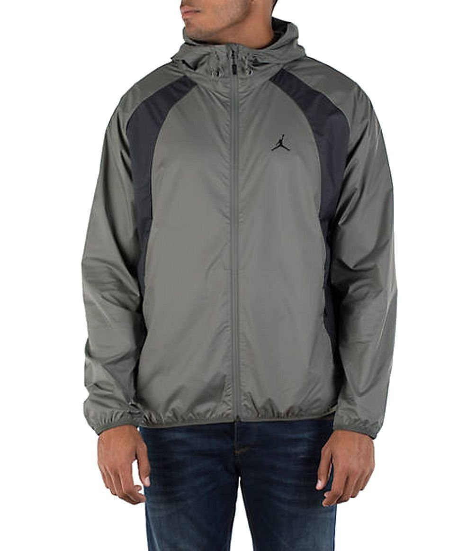 Jordan Nike Men's Air Wings Windbreaker Jacket Grey/Black (Large)