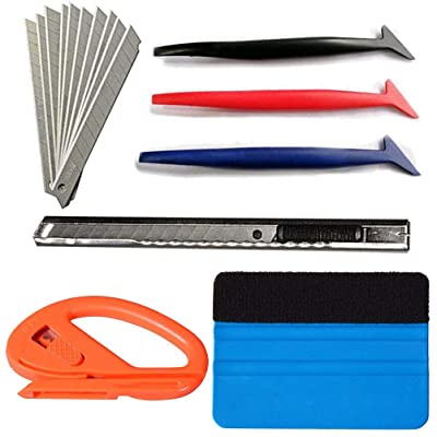 Aoxing Auto Window Tint Film Tool Kits Micro Squeegees Vinyl Wrap Felt Edge Squeegees: Automotive