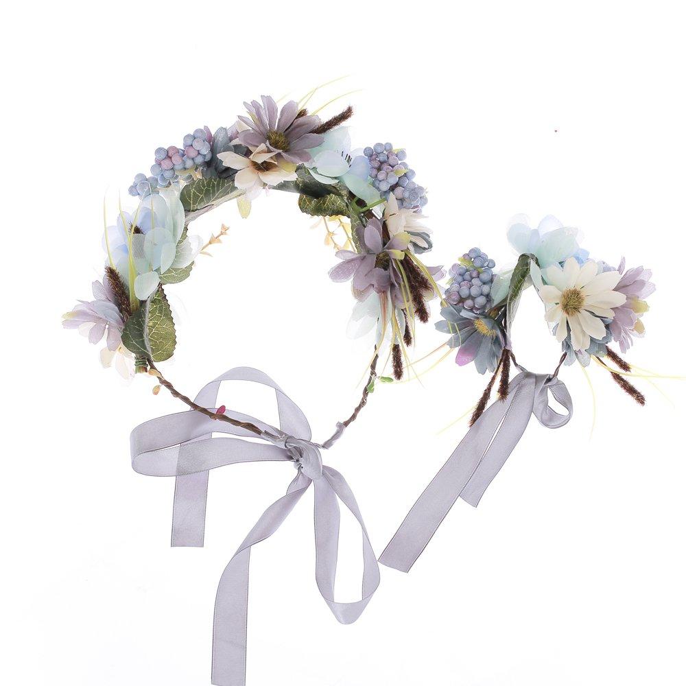 Ever Fairy/® Frauen M/ädchen Blumen Kranz Krone Haarband Girlande Floral Handgelenk Band Set f/ür Hochzeit