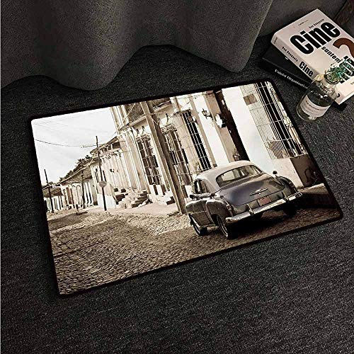 Floor mats for Kids Vintage Car,an Old American Car in The Colonial Streets of Trinidad in Cuba Historical Picture,Beige,W24 xL35 Rubber mat (Living Room Sets For Sale In Trinidad)