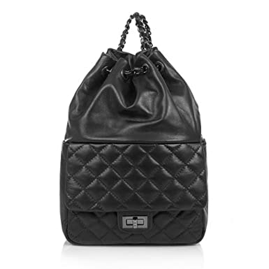 9e6c769d0a8471 IMPERIA Italian women rucksack quilted leather backpack with adjustable leather  and chain back straps smooth soft